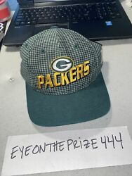 Vintage 90's Green Bay Packers Plade Logo Athletic Strap Back Hat Pro Line 7735
