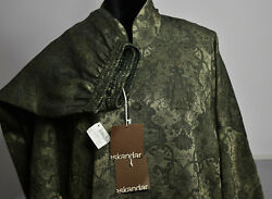 Nwt Eskandar Sz 1and2 Imperial High Neck Jacket Pant Suit Floral Scroll Olive 2 Pc