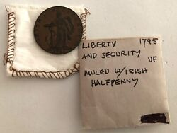 1795 - Liberty And Secured Muled Copper With Irish Half Penny- Rare