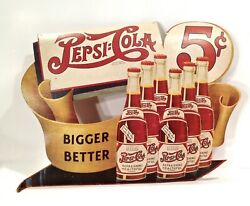 Vintage 1920's 30's Pepsi Cola Store Display Advertising Sign Look And Read