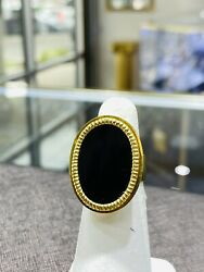 Vintage Corletto Onyx Oval 18k Yellow Gold Ring Italy Size 7.5