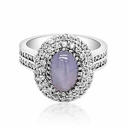 1.64ct Natural Star Sapphire 18k White Gold Ring