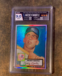 2006 Topps And03952 Chrome Refractor Rookie Parallel Tcrc7 Mickey Mantle /552 Hga 9