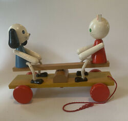 Vintage Wood Pull Toy Cat And Dog On Teeter Totter 11 Long 9 Tall 4 Wide