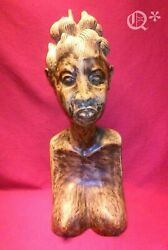 1943 African Female Bust Wooden Author Signature