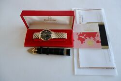 Mens Omega Gold Plated Auto Seamaster Black And039cross Hairand039 Dial Watch Box Papers
