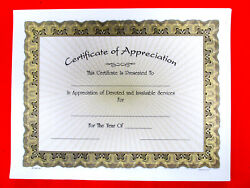 Certificate Of Appreciation Lot Of 10, 8.5x11 Parchment Paper W/gold Rays