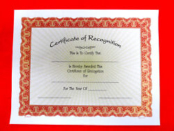 Certificate Of Recognition Lot Of 10, 8.5x11 White Paper W/gold Rays
