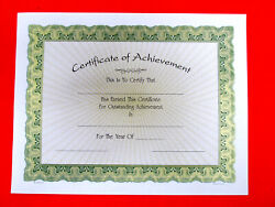 Certificate Of Achievement Lot Of 10, 8.5x11 White Paper W/gold Rays