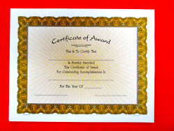 Certificate Of Award Lot Of 10, 8.5x11 White Paper W/gold Rays