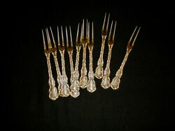 10 Whiting Louis Xv Sterling Silver Strawberry Fork - D Mono