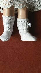 Antique Pattern White Socks With Bon-bon For Antique French German Doll