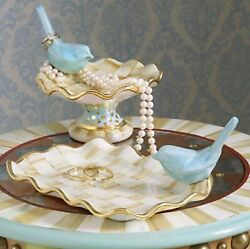 Mackenzie-childs Parchment Check Ring Dish And  Vanity Tray  Set Of 2
