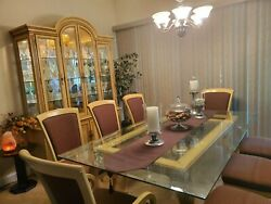Dining Room Set With 8 Chairs And China Cabinet .glass Table Top.