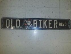 Old Biker Blvd Metal Sign Raised Letters 24 By 3 Inches Gas Shop Garage