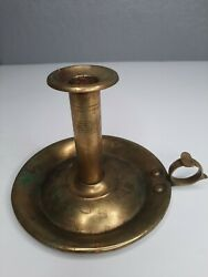 Antique Primitive Brass Push Up Chamberstick Candle Holder