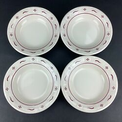 Longaberger Woven Traditions Traditional Red Four 4 8 Rimmed Soup Bowls