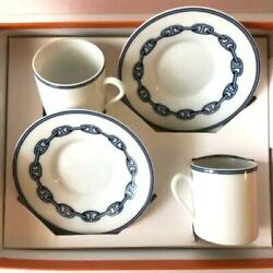 Hermes Espresso Cup Saucer Chaine Dand039ancre Blue Tableware Set Coffee Ornament New