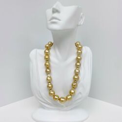 15-16mm Golden South Sea Circled-drop/baroque Pearl Necklace With Gold Clasp