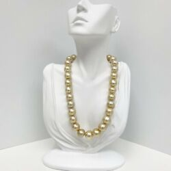 13-16mm South Sea Medium Golden Button Pearl Necklace With Gold Clasp