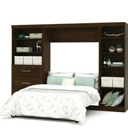 Atlin Designs 120 Full Wall Bed With 2 Piece 3 Drawer Storage Unit In Chocolate