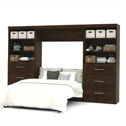 Atlin Designs 131 Full Wall Bed With 2 Piece 6-drawer Storage Unit In Chocolate