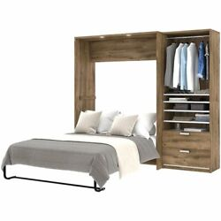 Atlin Designs 2 Piece Full Wall Bed In Rustic Brown And White