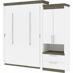 Atlin Designs 95 Queen Murphy Bed With Storage Cabinet In White