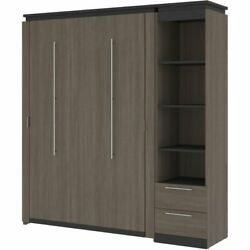 Atlin Designs 79 Full Murphy Bed And Narrow Bookcase With Drawers In Bark Gray