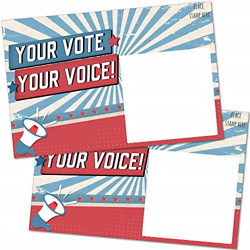 100 Bulk Voter Postcards 4x6andrdquo - Your Vote Your Voice Red White And Blue Theme