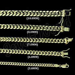 10k Yellow Gold 5mm-10mm Real Miami Cuban Link Necklace Chain Bracelet 7- 30