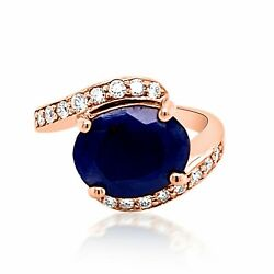 5.01ct Natural Blue Sapphire 14k Rose Gold Ring