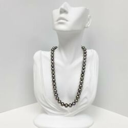 8-10mm Tahitian Silver Lavender Near-round Pearl Necklace With Gold Clasp