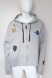 New Louis Vuitton Greycotton Jersey Embroidered Patches Hoodie Sweatshirt Xl