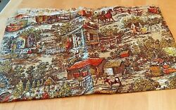 VINTAGE HOUSE N HOME FABRIC UPHOLSTERY REMANT PIONEER SCENE 56quot; X 60quot;
