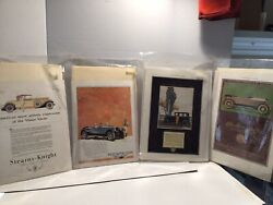 Vtg. Four 1920s Print Car Ads, Stearns-knight/chalmers/cole/wills Sainte Claire