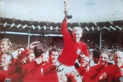 World Cup 1966 Photo Signed By 10+ Bobby Moore Signed + All England Tickets
