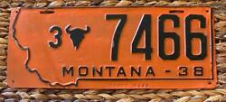 Montana 1938 Yellowstone County Prison Made License Plate 3-7466