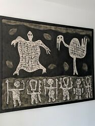 Prehistoric Silicone And Acrylic Painting On Canvas By Cuban Artist