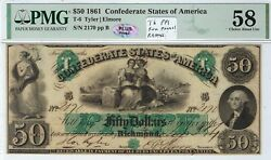T-6 Pf-1 50 Confederate Paper Money 1861 - Pmg Choice About Uncirculated 58
