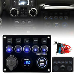 5 Gang Blue Led Light On-off Toggle Switch Control Panel For Car Boat Marine Rv
