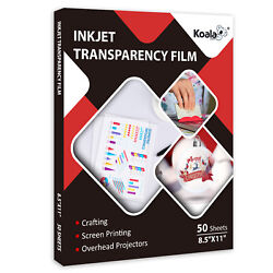 100 Clear Transparency Film For Inkjet And Laser 8.5x11 50 Sheets Screen Printing