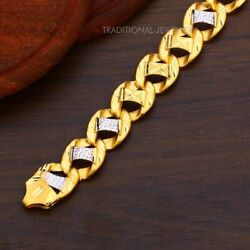 22k Yellow Gold Menand039s Bracelet Beautifully Handcrafted Diamond Cut Design 8