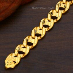 22k Yellow Gold Menand039s Bracelet Beautifully Handcrafted Diamond Cut Design 10
