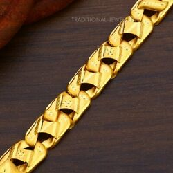 22k Yellow Gold Menand039s Bracelet Beautifully Handcrafted Diamond Cut Design 12