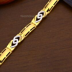22k Yellow Gold Menand039s Bracelet Beautifully Handcrafted Diamond Cut Design 19