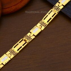 22k Yellow Gold Menand039s Bracelet Beautifully Handcrafted Diamond Cut Design 20