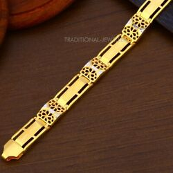22k Yellow Gold Menand039s Bracelet Beautifully Handcrafted Diamond Cut Design 21