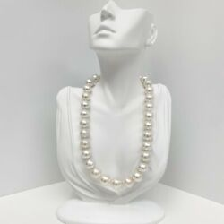 14-17mm South Sea White Circled Button Pearl Necklace With Gold Clasp
