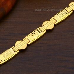 22k Yellow Gold Menand039s Bracelet Beautifully Handcrafted Diamond Cut Design 36
